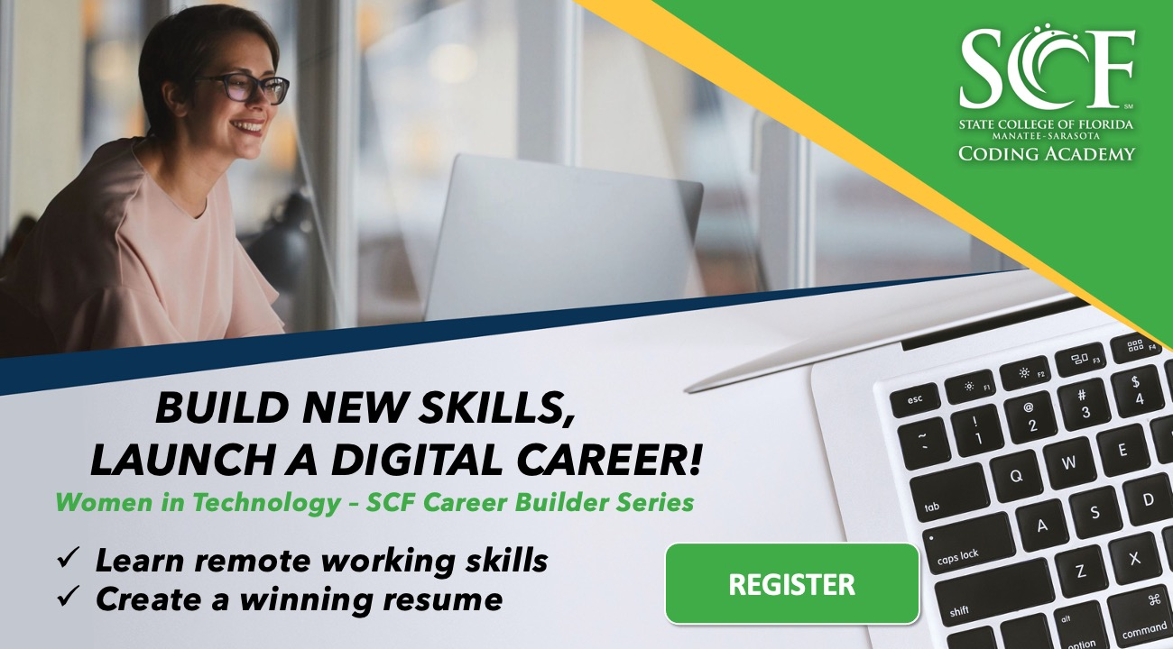 Women in technology career builder banner with a woman working at a computer - learn remote work skills and start a new career! Register now.